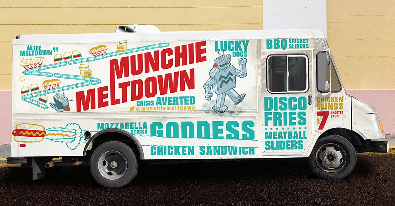 Branding for food truck by sidewalk