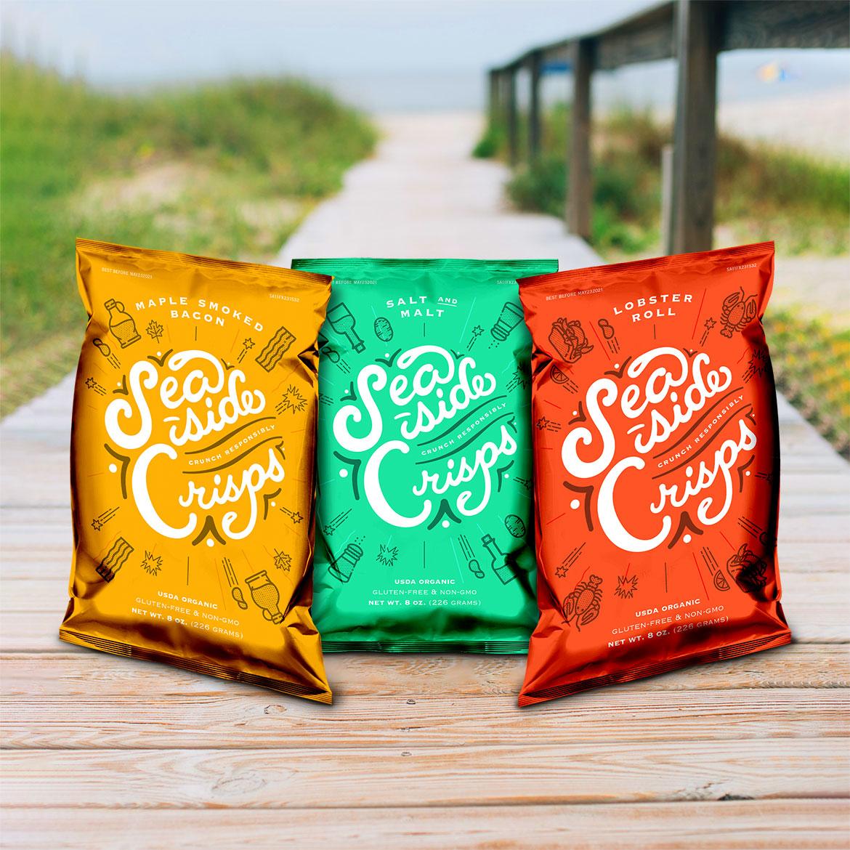 Potato chip branding for trio on boardwalk