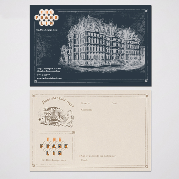 Boutique hotel comment card front and back