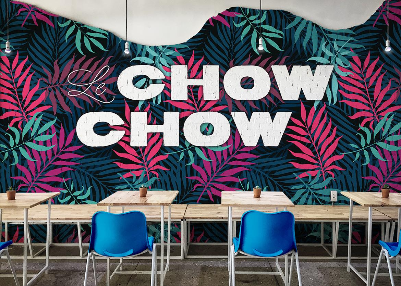 Cafe interior wall branding
