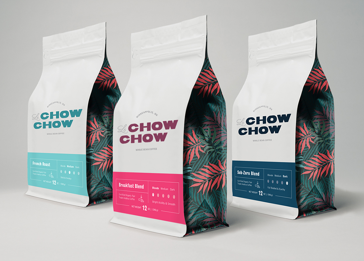 Branding for cafe coffee bags three flavors