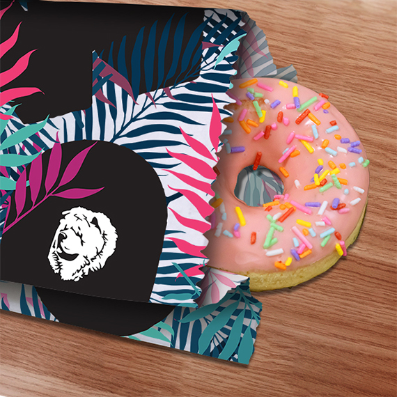 Cafe pastry bag with donut branding