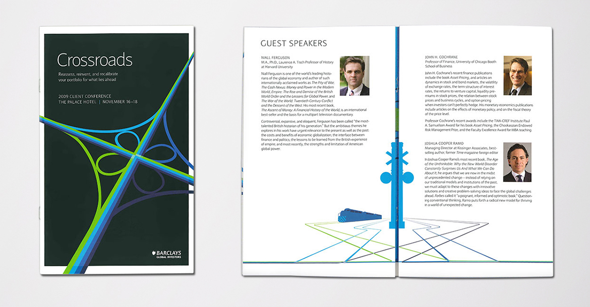 Financial services conference brochure branding