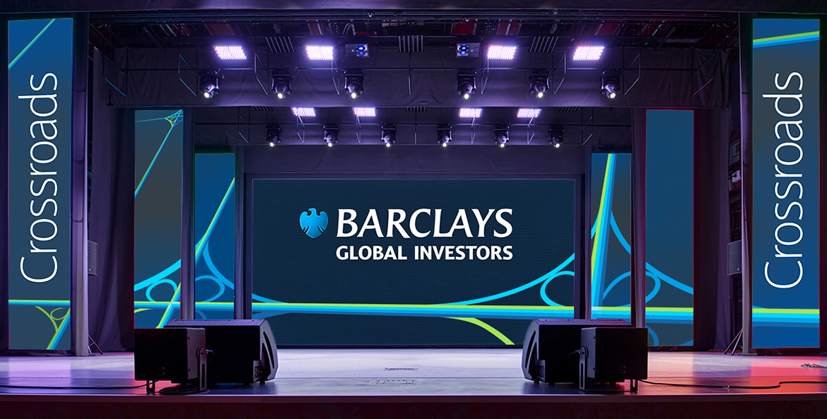 Financial services conference stage branding