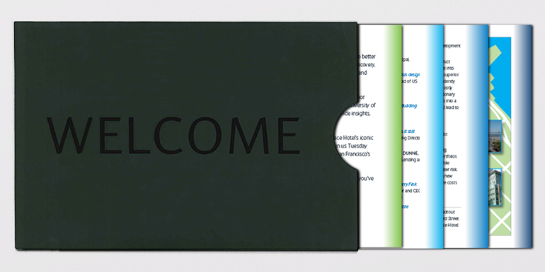 Financial services conference welcome packet contents branding