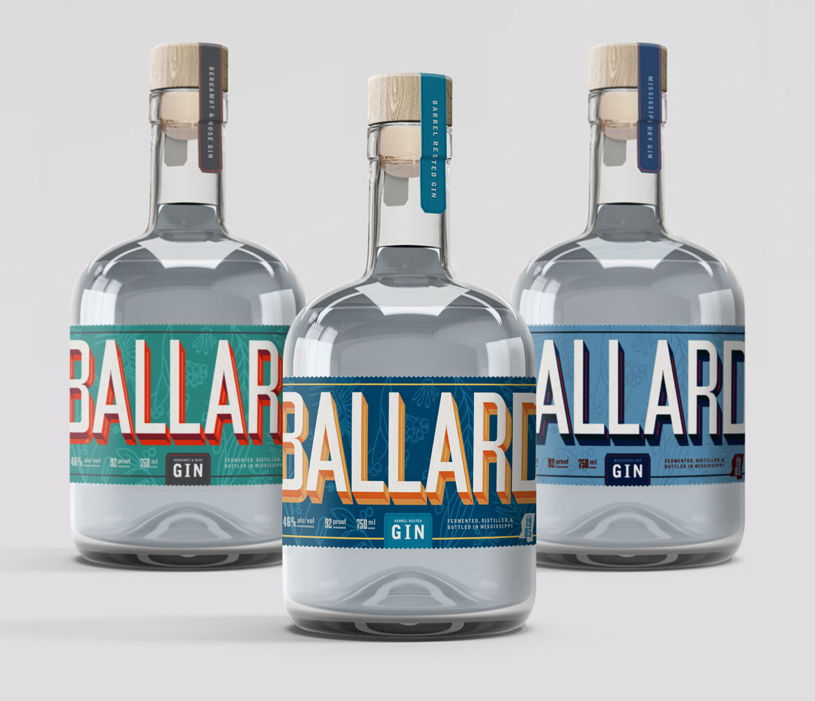 Branding for trio of gin bottles
