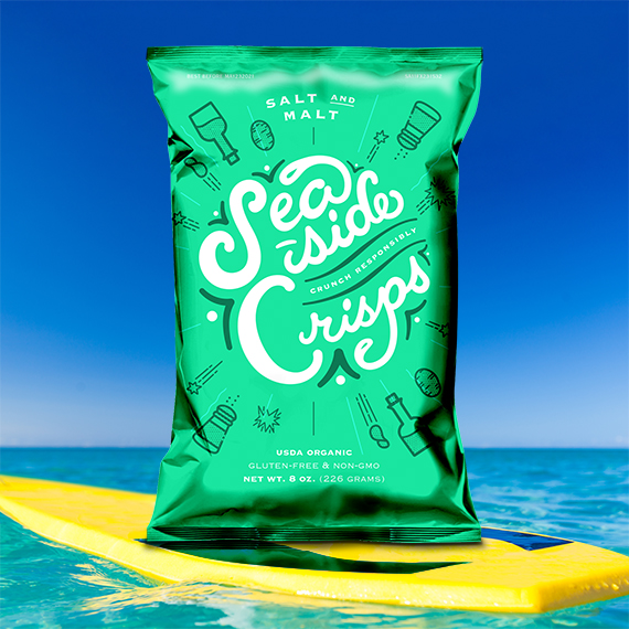 Potato chip packaging on a surfboard