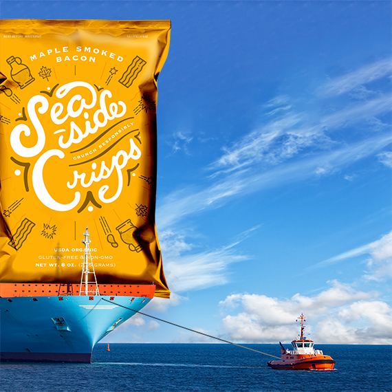 Potato chip packaging pulled by tugboat