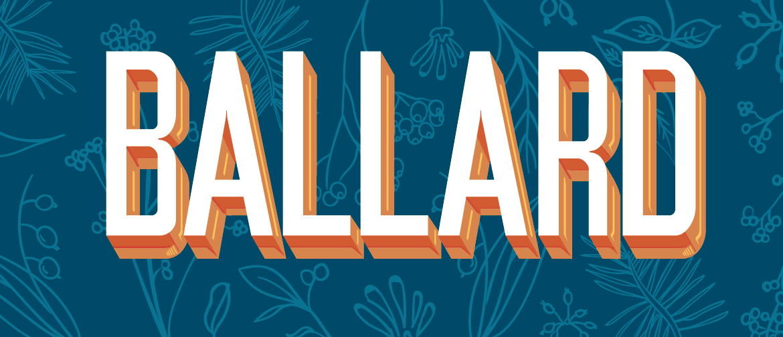 Ballard logo on botanical background
