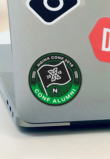 NGINX Atlanta tech conference sticker swag