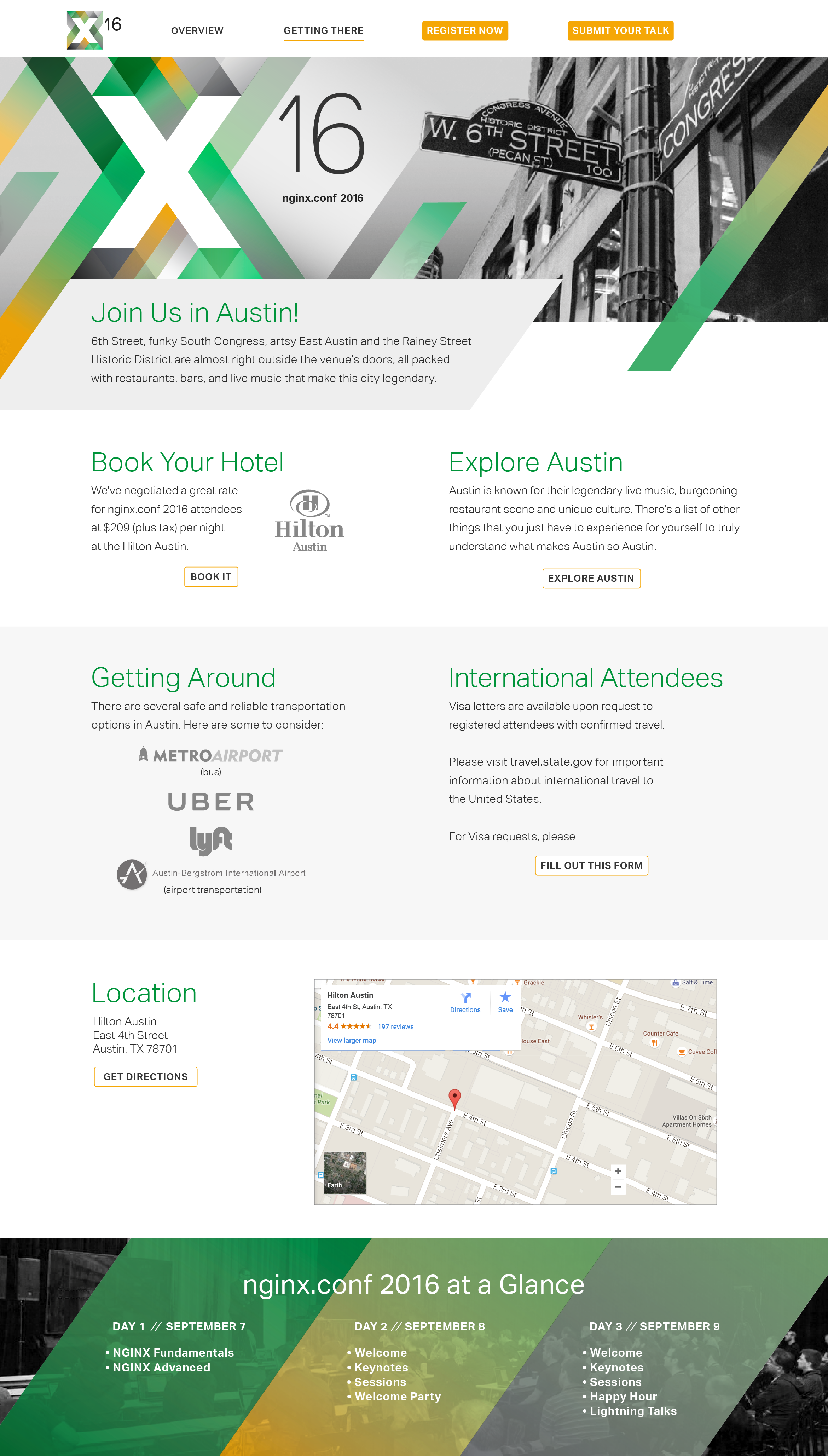 NGINX Austin Getting There web page